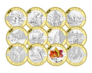 2013 $10 FINE SILVER WITH GOLD PLATE 12-COIN SET - O CANADA