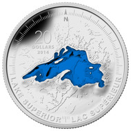2014 $20 FINE SILVER COIN- THE GREAT LAKES: LAKE SUPERIOR