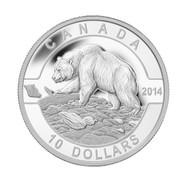 2014 $10 FINE SILVER COIN O CANADA - GRIZZLY BEAR