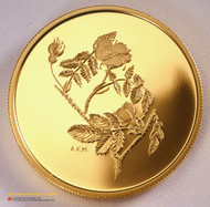 2002 .99999 GOLD $350 COIN - THE WILD ROSE - QUANTITY SOLD: 2001
