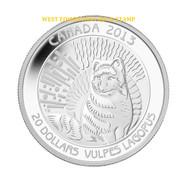 2013 $20 FINE SILVER COIN ARCTIC FOX - UNTAMED WILDERNESS - QUANTITY SOLD: 7538