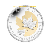 2013 $300 PLATINUM COIN WITH SELECT GOLD PLATING - 25TH ANNIVERSARY OF THE PLATINUM MAPLE LEAF