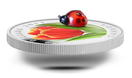 2011 $20 FINE SILVER COIN - TULIP WITH VENETIAN GLASS LADYBUG - QUANTITY SOLD: 4,985