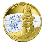 2008 OLYMPIC $75 14KT GOLD COIN - INUKSHUK