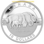 2014 $10 FINE SILVER COIN - O CANADA - THE BISON