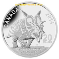 2014 $20 FINE SILVER COIN CANADIAN DINOSAURS: XENOCERATOPS FOREMOSTENSIS