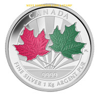2014 $250 FINE SILVER 1-KILO COIN - MAPLE LEAF FOREVER