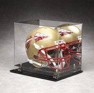 ACRYLIC FOOTBALL HELMET DISPLAY CASE  WITH MIRROR BACK & GOLD RISERS