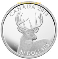 2014 $20 FINE SILVER COIN THE WHITE-TAILED DEER - PORTRAIT