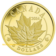 2014 $5 PURE GOLD COIN OVERLAID MAJESTIC MAPLE LEAVES