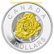 2014 $5 FINE SILVER COIN - FLOWERS IN CANADA ROSE