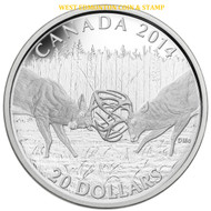 2014 $20 FINE SILVER COIN THE WHITE-TAILED DEER - A CHALLENGE