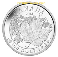 2014 $100 FINE SILVER COIN MAJESTIC MAPLE LEAVES
