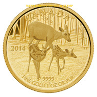 2014 $200 PURE GOLD COIN THE WHITE-TAILED DEER - QUIETLY EXPLORING
