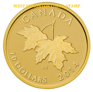 2014 $10 PURE GOLD COIN - MAPLE LEAVES WITH QUEEN ELIZABETH II EFFIGY (1953)