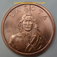 "LOKOTA ""CRAZY HORSE"" 1 OZ. COPPER ROUND"