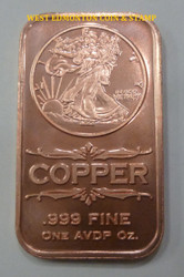 WALKING LIBERTY 1 OZ COPPER INGOT / BAR