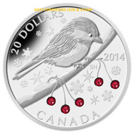 2014 $20 FINE SILVER COIN - CHICKADEE WITH WINTER BERRIES