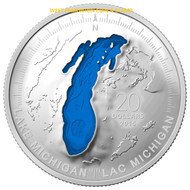2015 $20 FINE SILVER COIN THE GREAT LAKES: LAKE MICHIGAN