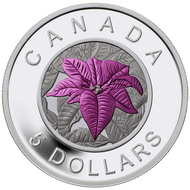 2014 $5 FINE SILVER COIN - FLOWERS IN CANADA: POINSETTIA