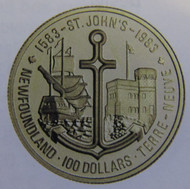 1983 22KT $100 GOLD COIN - GILBERT'S LANDING IN NEWFOUNDLAND