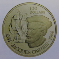 1984 22KT $100 GOLD COIN - JACQUES CARTIER'S VOYAGE OF DISCOVERY