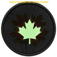 2014 $20 FINE SILVER COIN - GLOW IN THE DARK MAPLE LEAF
