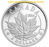 2014 $5 PLATINUM COIN OVERLAID MAJESTIC MAPLE LEAVES