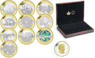 2014 $10 FINE SILVER COIN WITH GOLD PLATING SET O CANADA
