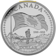 2015 PROOF SILVER DOLLAR THE 50TH ANNIVERSARY OF THE CANADIAN FLAG