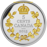 2015 5-CENT FINE SILVER COIN LEGACY OF THE CANADIAN NICKEL: THE CROSSED MAPLE BOUGHS