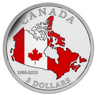 2015 $3 FINE SILVER COIN 50TH ANNIVERSARY OF THE CANADIAN FLAG