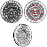 2015 $25 FINE SILVER 3-COIN SET SINGING MOON MASK