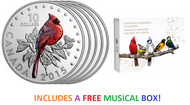 2015 $10 FINE SILVER 5-COIN COLOURFUL SONGBIRDS OF CANADA SUBSCRIPTION - FREE MUSICAL BOX!