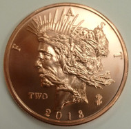 ZOMBIE PEACE DOLLAR 1 OZ. COPPER ROUND