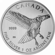 2015 $5 FINE SILVER COIN - RED TAILED HAWK- COMES IN SQUARE MATTED CAPSULE