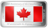 2015 $50 FINE SILVER COIN 50TH ANNIVERSARY OF THE CANADIAN FLAG