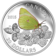 2015 $20 FINE SILVER COIN BUTTERFLIES OF CANADA - GIANT SULPHUR