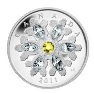 2011 FINE SILVER $20 COIN - CRYSTAL SNOWFLAKE - TOPAZ