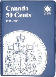 CANADA 50 CENTS - HALF DOLLARS - 1937-1983 - BLUE COIN FOLDERS - UNI-SAFE
