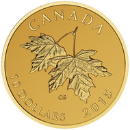 2015 $10 PURE GOLD COIN MAPLE LEAVES WITH QUEEN ELIZABETH II EFFIGY (1990)