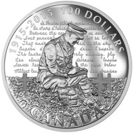 2015 $100 FINE SILVER COIN 100TH ANNIVERSARY OF IN FLANDERS FIELDS