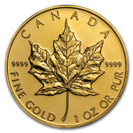 1OZ. RANDOM YEAR CANADIAN MAPLE LEAF GOLD COIN (.9999 PURE BULLION)