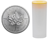 TUBE OF 25 1OZ. 2015 CANADIAN MAPLE LEAF SILVER COIN (.9999 PURE BULLION)