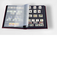 STAMP STOCKBOOK ALBUM - 16 BLACK PAGES (32 SIDES) - DOUBLE GLASSINE INTERLEAF - BLACK