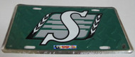 SASKATCHEWAN ROUGHRIDERS GREEN CFL DIAMOND CUT LOOK METAL LICENCE PLATE