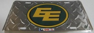 EDMONTON ESKIMOS CFL DIAMOND CUT LOOK METAL LICENCE PLATE