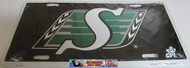 SASKATCHEWAN ROUGHRIDERS BLACK CFL DIAMOND CUT LOOK METAL LICENCE PLATE