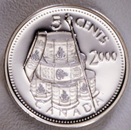 2000 CANADIAN 5 CENT STERLING SILVER COIN FIRST FRENCH REGIMENT.