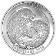 2016 $20 FINE SILVER COIN GRIZZLY BEAR: THE BATTLE